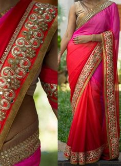 Pink Red Embroidery Mirror Work Chiffon Designer Party  Wear Sarees http://www.angelnx.com/Sarees