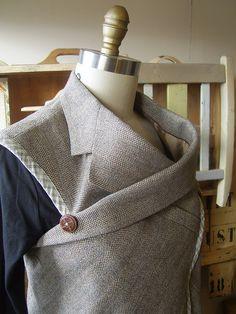 Men's suit jacket refashioned into flattering cowl-neck ladies tunic.  www.piecesofyou.typepad.com