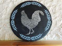 Rooster Slate Art  Silver by SerdinyaArt on Etsy, €45.00