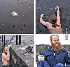 Man saves a duck from under the ice