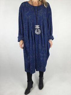 Lagenlook Baroness Tunic In Royal blue. code 4712