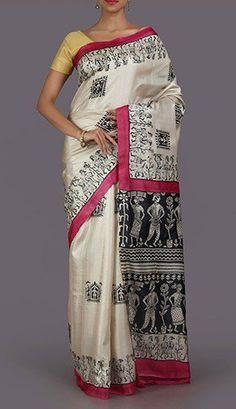 Piya Black And White Tribal Art Hand Painted Kosa Silk Saree