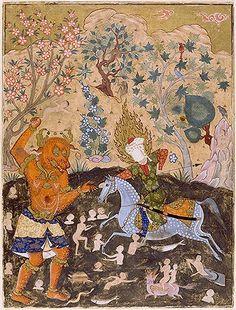 Imam Reza spearing a div  برگی از فالنامه امام جعفر صادق(ع)، رزم امام رضا با دیو،1550 میلادی، قزوین