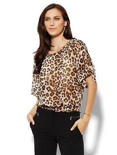 Shop Kimono Blouse - Leopard . Find your perfect size online at the best price at New York & Company.