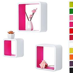 WOLTU RG9236rs Wandregal Cubes, MDF Holz, Hängeregal Bücherregal, CD/DVD Aufbewahrung, Regal, Pink