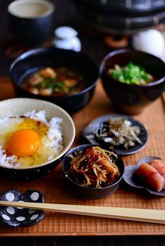 Japanese Breakfast with Tamago Kake Gohan, Fresh Egg on Rice 卵かけご飯
