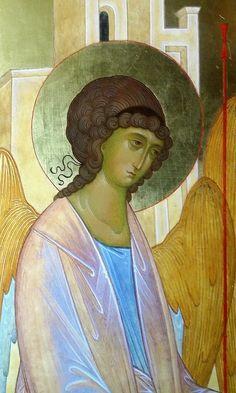 The Holy Trinity. Byzantine Icons, Byzantine Art, Religious Icons, Religious Art, Learn Art, Gold Work, Art Icon, Orthodox Icons, Angel Art
