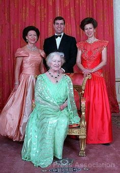 The Queen Mother with Princess Margaret, Prince Andrew, and Princess Anne in 1990.
