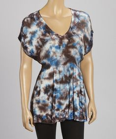 Take+a+look+at+the+Chocoloate+&+Blue+Tie-Dye+Top+-+Women+on+#zulily+today!