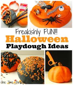 Looking for some unique PLAYDOUGH ideas for Halloween? Check out these Freakishly Fun Halloween Playdough Ideas at One Time Through #playdough #kids #sensory