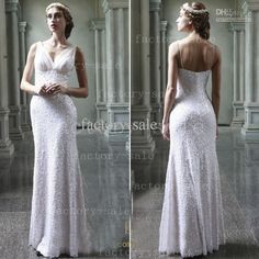 Wholesale 2013 Sheath Wedding Dresses V Neck White Sequins Simple Beach Floor Length Bridal Gown BO1338, Free shipping, $151.14/Piece | DHgate