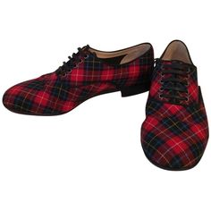 Pre-owned Christian Louboutin Flannel Tartan Flat Oxford Loafers Eu 38... ($400) ❤ liked on Polyvore featuring shoes, christian louboutin sneakers/flats, red, red plaid shoes, red oxford shoes, red flat shoes, plaid flats and low heel shoes