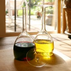 The wine glass, flipped over for oil and vinegar! this is cool.