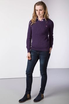 Ladies Crew Neck Cable Knit Jumper – Purple – The Best Ideas Preppy Sweater, Chunky Knit Jumper, Elegant Outfit, Ladies Knitwear, Uk History, Crew Neck, Knitting, Jumpers, My Style