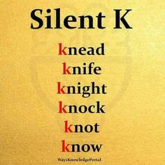 "English words with silent ""K"" ""K"" muda English Phonics, English Sentences, English Vocabulary Words, Learn English Words, English Language Learners, Education English, English Grammar, Teaching English, English Reading"