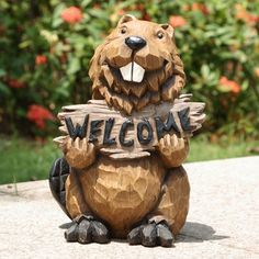 Northern Treasures Smiley Beaver Holds Welcome Sign Statue for Home and Garden Decor *** Inspect this amazing product by mosting likely to the link at the image. (This is an affiliate link). Chainsaw Wood Carving, Wood Carving Art, Wood Art, Wood Carvings, Wood Carving Patterns, Carving Designs, Bear Statue, Bird Types, Bird Statues