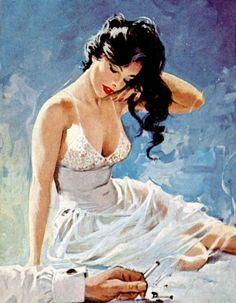 "Cover of pulp paperback ""Customer's Woman"" by artist Ernest Chiriaka. Vintage Romance, Vintage Art, Hollywood Glamour, Arte Pulp Fiction, Art Pulp, Estilo Pin Up, Whatsapp Wallpaper, Calendar Girls, Pin Up Art"