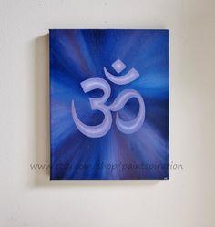 Om Original Canvas Painting Sanskrit Symbol by Paintspiration, $49.00