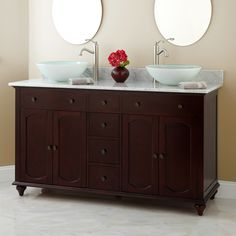 double vessel sink vanity. 60  Silva Cherry Double Vessel Sink Vanity Bathroom 1694 59 Lune Glass Stuff to Buy