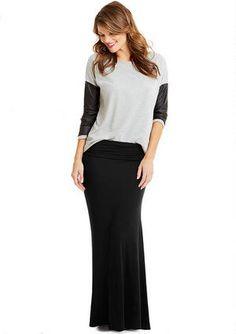 Knit foldover maxi skirt.