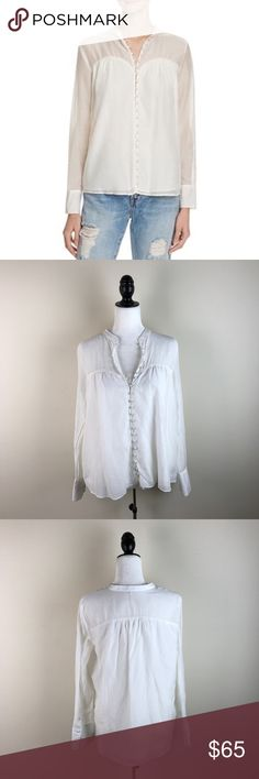 """Free People Through & Through White Button Blouse Amazing silk & cotton blend button down shirt. Originally $98 and sold out! Such a cute top. Long sleeved. Gently used and in excellent condition. 70% cotton, 30% silk.  Measurements laying flat (without stretching)—  Armpit to armpit: 22"""" Length, shoulder to hem: 25"""" Free People Tops"""