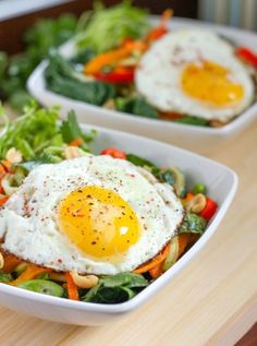 #Recipe: Thai #Veggie Bowl with Fried #Egg and Cilantro Ginger Dressing
