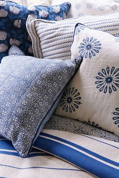 Marin County No. 3 - Mark D. Sikes, flower pillow and pillow with chambray on the back and navy piping