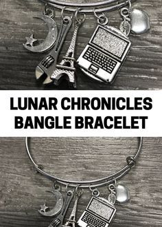 Love this bangle bracelet with charms from the Lunar Chronicles. What great fandom jewelry with all the four princesses. #ad