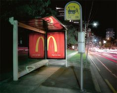 This McDonalds ad uses the principle of closure to be effective. By having a glass/mirror right next to it, the left side of the M gets filled in by our brains and assumptions.