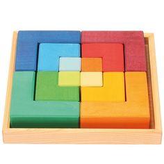 "Puzzle Creativo Cuadrado De Madera ""Legespiel Viereck"" Grimm's Spiel Und Holz Design GRI-43210 Kinuma.com Grimm, Chiffon, Felt Patterns, Wood Toys, Kids Toys, Decoupage, Woodworking, Shapes, Projects"