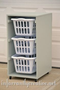 Laundry Basket Dresser This is a practical, inexpensive laundry sorting system similar to what I have done for years. Includes a tutorial for turning the baskets lengthwise also if that better suits your space. Laundry Basket Dresser, Laundry Hamper, Stackable Laundry Baskets, Laundry Basket Holder, Laundry Basket Storage, Laundry Bin, Basement Laundry, Laundry Sorting, Diy Rangement