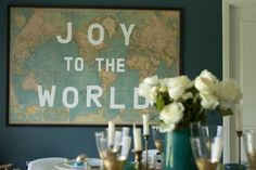 great wall art- easy to make with a vintage world map and letter stencils