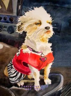 Mighty Mite dog, painting by artist Kay Smith