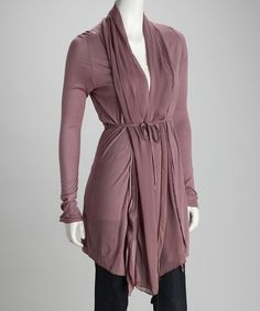 Sepia Pleated Tie-Front Cardigan by miilla
