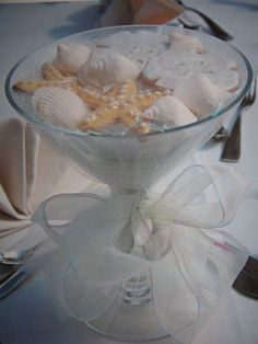 """Fun """"Beachy"""" Centerpiece, and VERY easy. We'll provide the Martini Glasses, You provide the Sand and Shells!"""