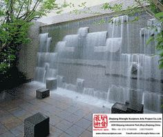 Outdoor Water-Fall Stone Wall Fountain