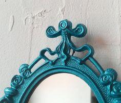 Small Mirror or Photo Frame in Vintage Shimmering Aqua Frame - Restored Vintage