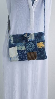 47964f454080 Denim tie dye and corduroy small handbag purse satchel custom Louis  Vouitton & flower patches. Lucky Brand button close. One of a Kind purse