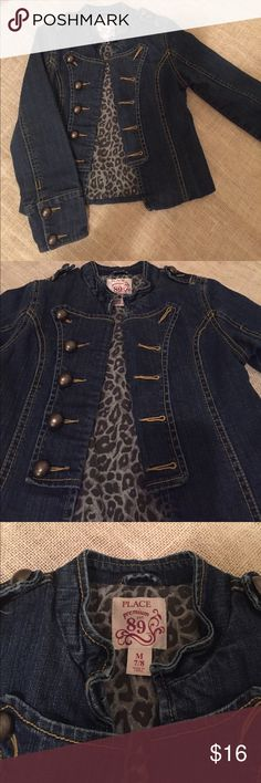 Military style denim jacket size M 7/8 EUC Awesome military style jean jacket from the Children's Place in size M.  Medium wash with grey leopard print lining.  Unique and stylish. Barely worn and in excellent used condition. No holes, stains or obvious wash wear. Children's Place Jackets & Coats Jean Jackets