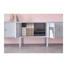 """LIXHULT Cabinet  - IKEA  $35  Height without legs: 13 3/4 """"  Height with legs: 22 1/2 """"  Width: 23 5/8 """"  Depth: 13 3/4 """"  Height: 13 3/4 """"  Height under furniture: 8 1/4 """""""