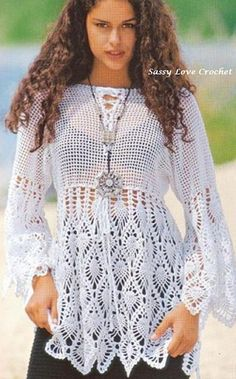 Crochet Pineapple Boho Tunic Beach Top PATTERN, Designer Crochet Top PATTERN, Sizes: 34'-42' Digital Download by SassyloveCrochet on Etsy