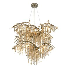 GOL 9903-18 MG Autumn Twilight Two Tier Chandelier in the Mystic Gold finish…