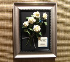 Bouquet of roses and a quilled butterfly (on a 19x24 cm frame)