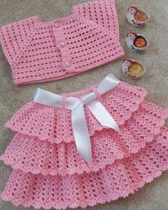 Crochet Baby Dress Pattern, Knit Baby Dress, Baby Girl Crochet, Crochet Baby Clothes, Baby Knitting Patterns, Crochet For Kids, Baby Patterns, Knit Crochet, Crochet Ideas