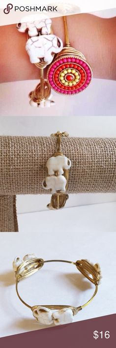 Elephant Bangle Handmade with off-white elephant beads and gold colored wire. Tarnish resistant. Diameter is 2.75 inches across. Stones are carved from natural howlite, so slight color/size variations will occur. Bundle for an extra discount!  Sydney Elle Jewelry Bracelets
