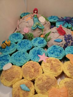 Ariel Cupcakes and cake Little Mermaid Cupcakes, The Little Mermaid, Ariel, Party Planning, Desserts, Food, Tailgate Desserts, Deserts, Essen
