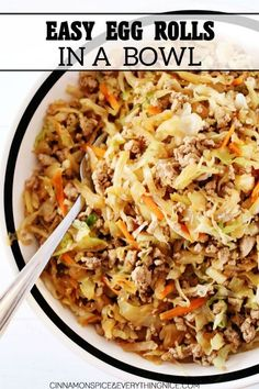 Easy Egg Roll in a Bowl - the insides of an egg roll without the crunchy wrapper. It's low-carb, gluten-free yet still totally delicious, and only dirties up one pan. roll in a bowl Easy Egg Roll in a Bowl Egg Roll Recipes, Pork Recipes, Asian Recipes, Low Carb Recipes, Cooking Recipes, Healthy Recipes, Ethnic Recipes, Best Food Recipes, Recipies