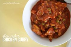 Slow Cooker Chicken Curry. Super easy & delicious- tasted like the chicken curry from Costco. Only used just over a pound of chicken. Served the peas with corn on the side.: