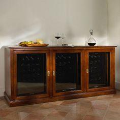 Siena Triple Wine Credenza With Three 28 Bottle Refrigerators