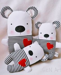 Black and White Striped Handmade Stuffed Teddy Bear Soft Toy Bear Modern Baby Nursery Decor F. Black and White Striped Handmade Stuffed Teddy Bear Soft Toy Bear Modern Baby Nursery Decor Fabric Teddy Bear Plush Black White Red Bear Selling Handmade Items, Handmade Toys, Etsy Handmade, Fabric Toys, Fabric Decor, Fabric Pen, Stuffed Animals, Sleeping Bunny, Teddy Bear Toys